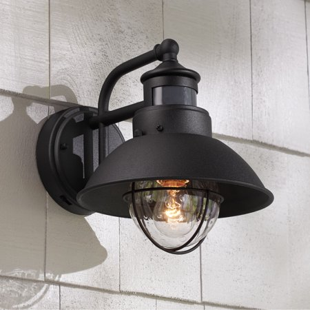 John Timberland Rustic Outdoor Wall Light Black Exterior Fixture Motion Dusk to Dawn For House Deck Porch