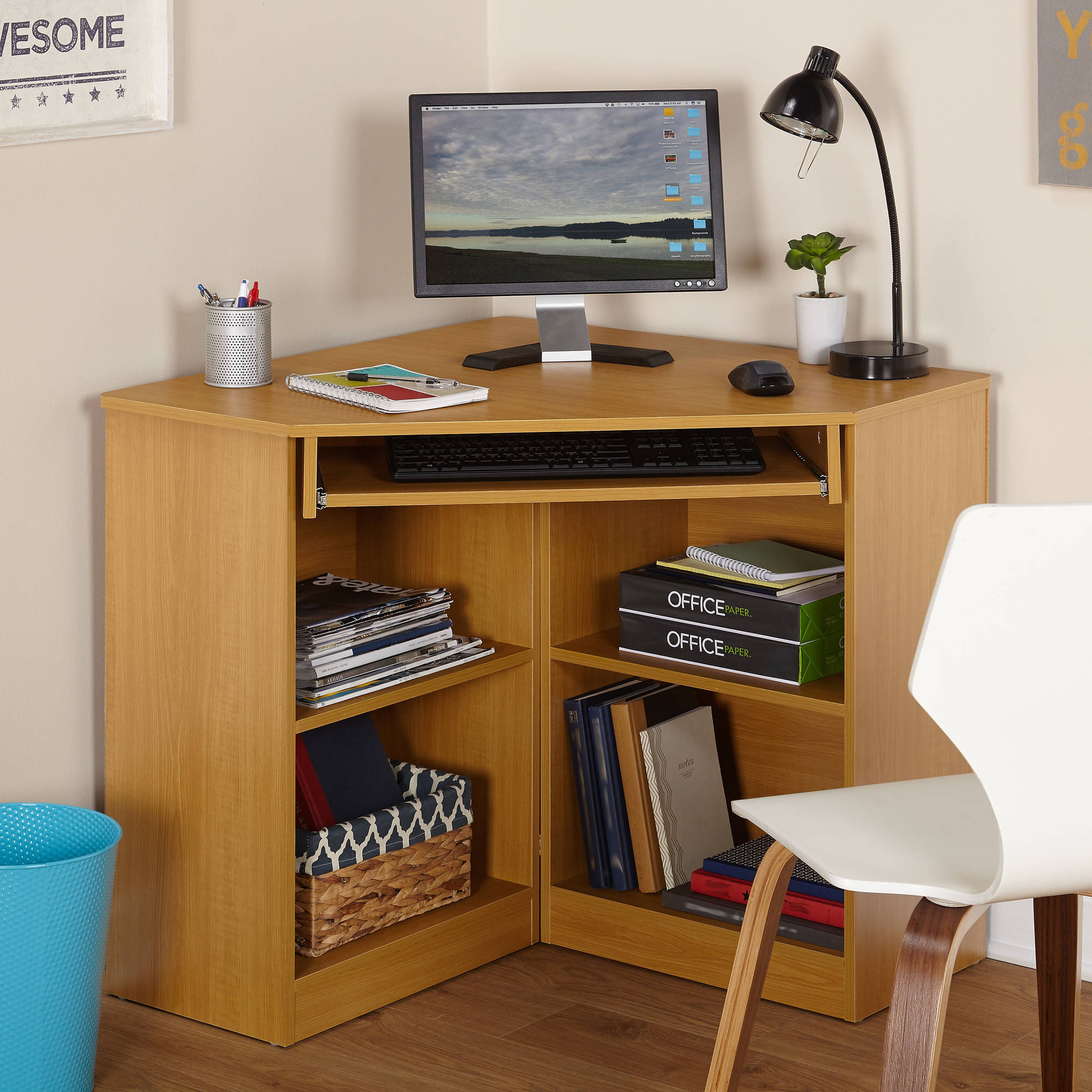Mainstays L Shaped Desk With Hutch Cheap Mainstays L