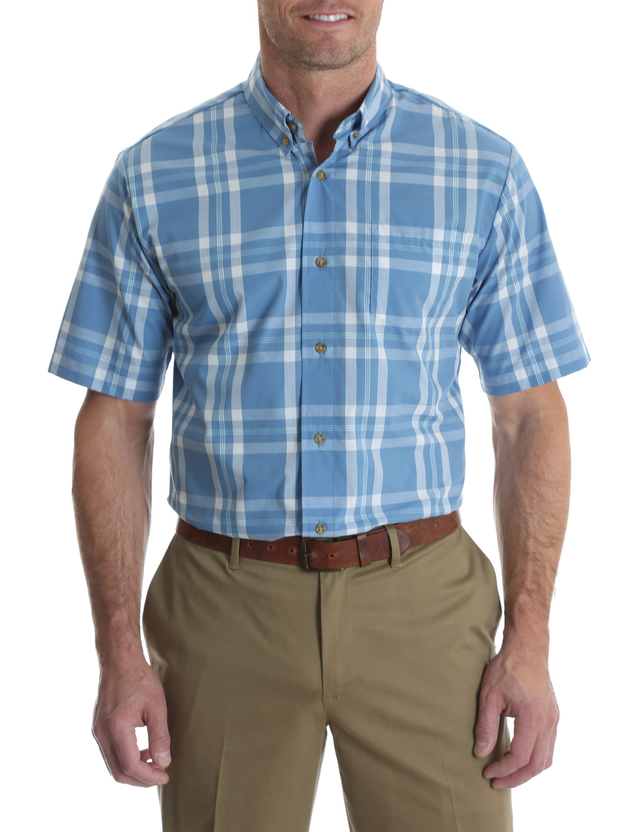 Big Men's Short Sleeve Wrinkle Resist Plaid Shirt