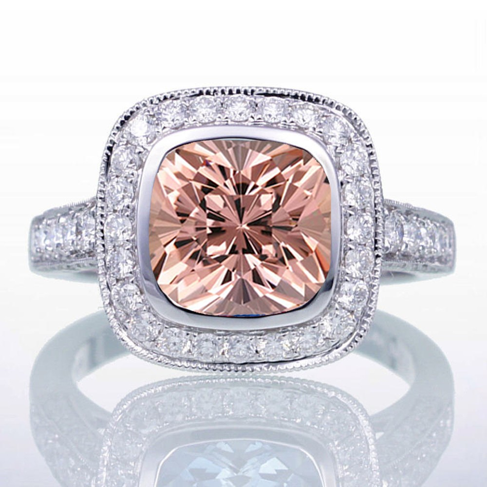 1.5 Carat Cushion Cut Morganite and Diamond Halo Vintage Engagement Ring for Women on 10k White Gold by JeenJewels