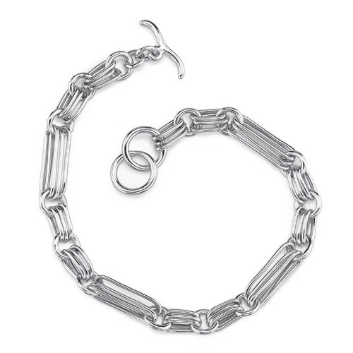 Oravo Exclusive Appeal Sterling Silver Designer Inspired Long Link Toggle Bar Chain Bracelet