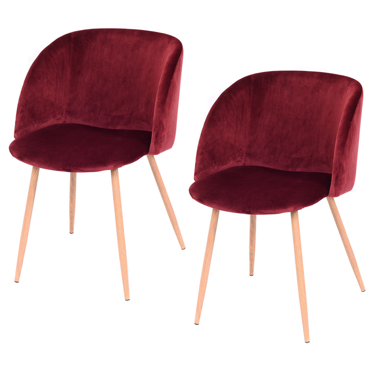 Costway Set Of 2 Mid-Century Velvet Accent Armchair Sofa Lounge Club Chair Steel Legs by Costway