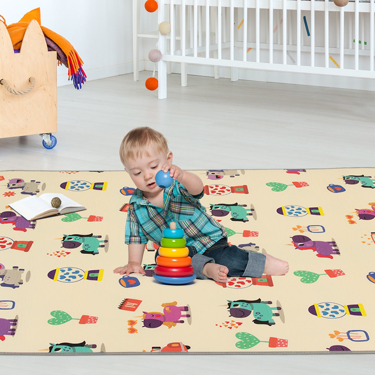 Gymax 67''x59'' Folding Baby Play Mat Reversible XPE Floor Playmat Toddlers Waterproof