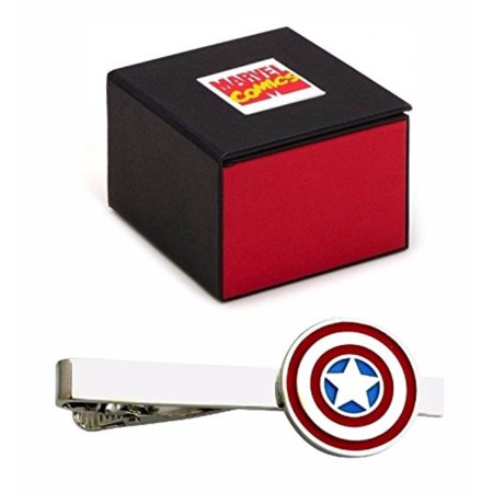 Silver Wrapped Gift Box - Captain America Avengers Silver Tone Tie Clip - 2.1 Inch in Marvel Comics Gift Box