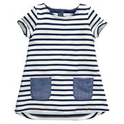 Dress for Girls Short Sleeve Round Neck Stripe Jumpsuit Romper Pockets Soft Tops Infant Toddler Kids Children Summer Outfits 130
