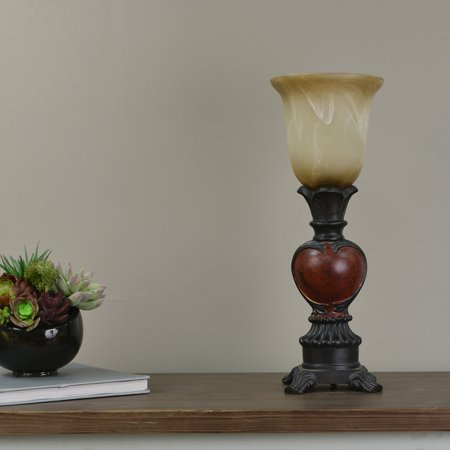 Aged Bronze Uplight with Deep Red Accent and Soft Biege Glass Shade