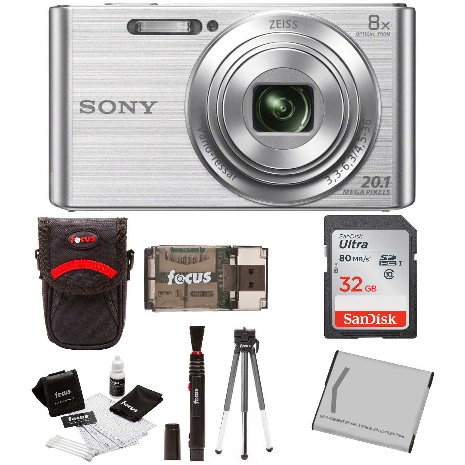 Sony  DSCW830/B w/ Standard Medium Digital Camera Case & 32GB Battery  Bundle