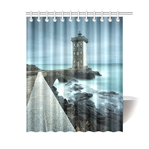 GCKG Ocean Lighthouse Shower Curtain Tropical Sea Coastal Scenery Polyester Fabric Bathroom Sets With Hooks 60x72 Inches