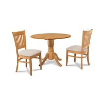 M&D Furniture BUMI3-OAK-C Burlington 3 Piece dining room set-kitchen table and 2 dining chairs in Oak finish