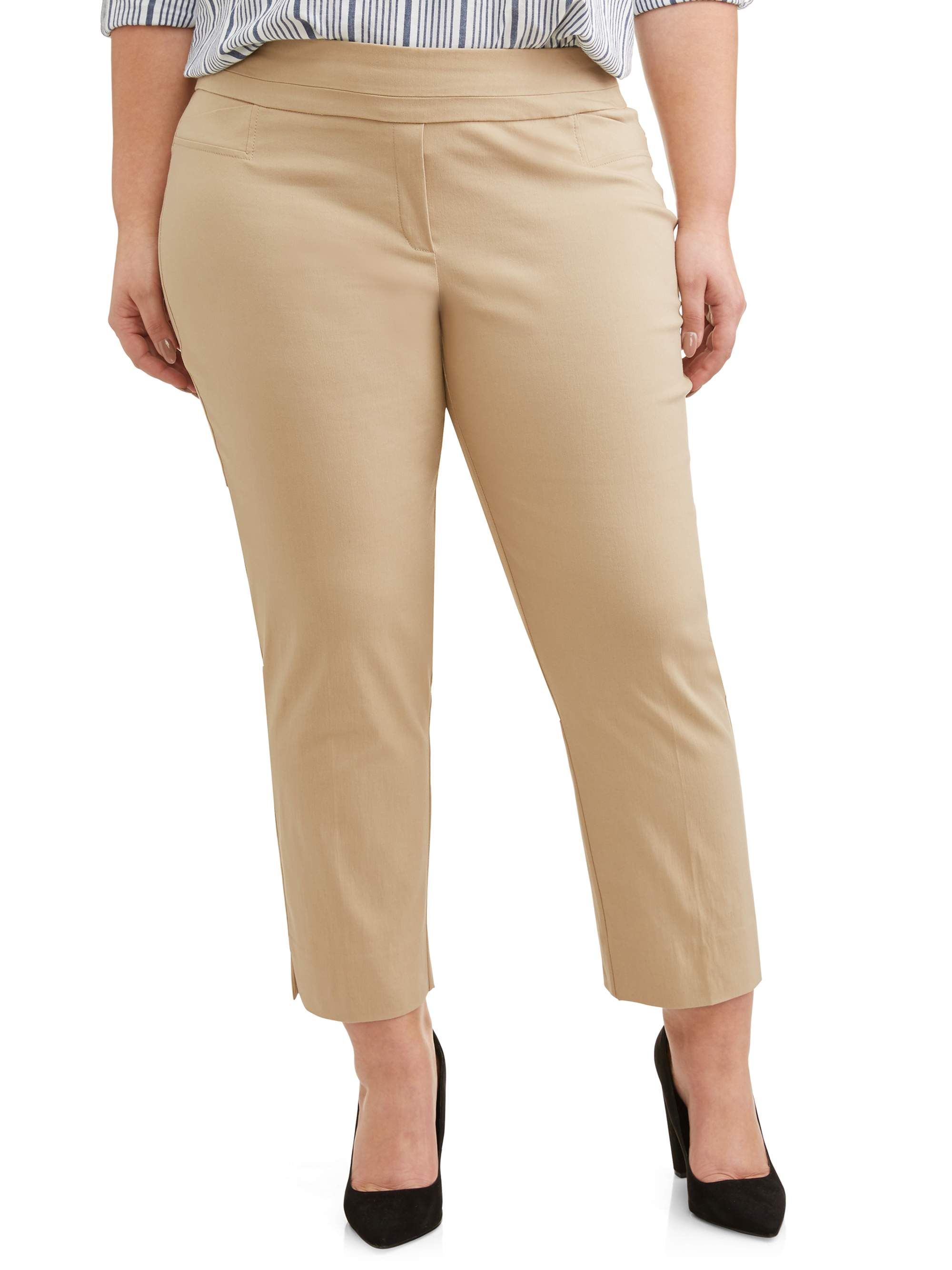 Women's Plus Size Stretch Woven Ankle Pant