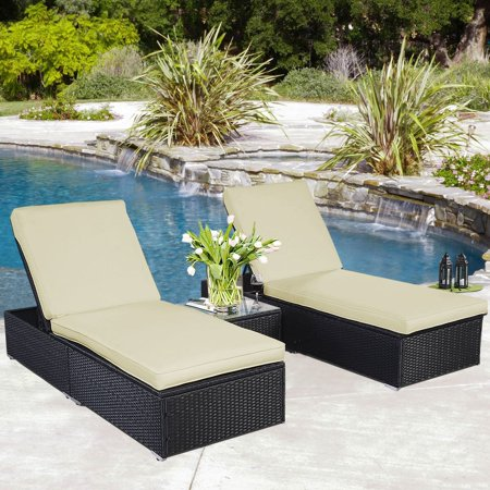 Brilliant Outdoor Patio Chaise Lounge Chair Wicker Rattan 3 Piece Black Ocoug Best Dining Table And Chair Ideas Images Ocougorg