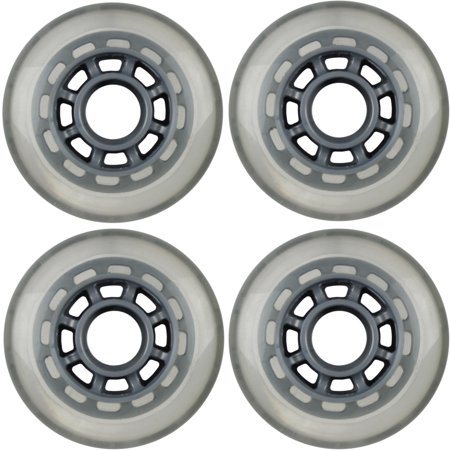 Inline Skate Replacement Wheels 76mm 78A Grey/Silver 4