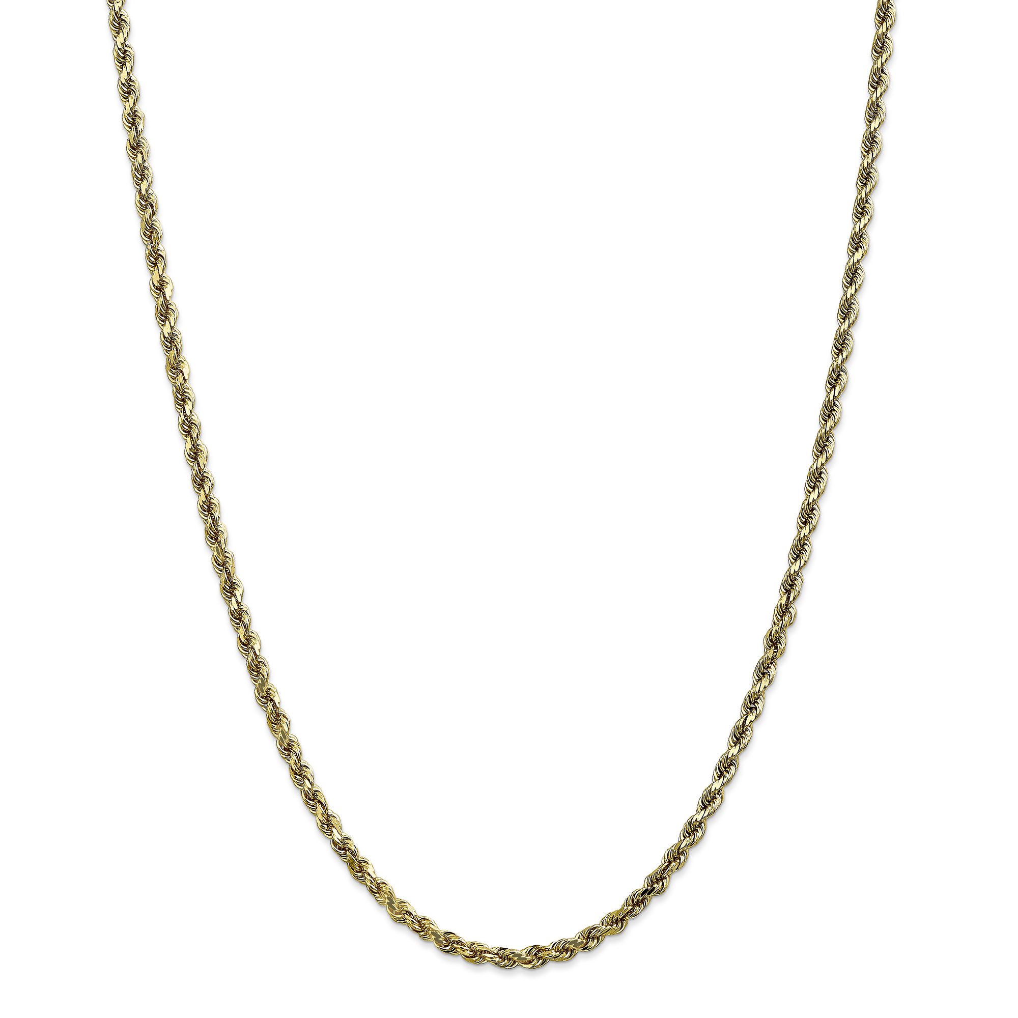 10k Yellow Gold 3.5mm Link Rope Chain Necklace 20 Inch Pendant Charm Handmade Fine Jewelry Gifts For Women For Her - image 5 de 5