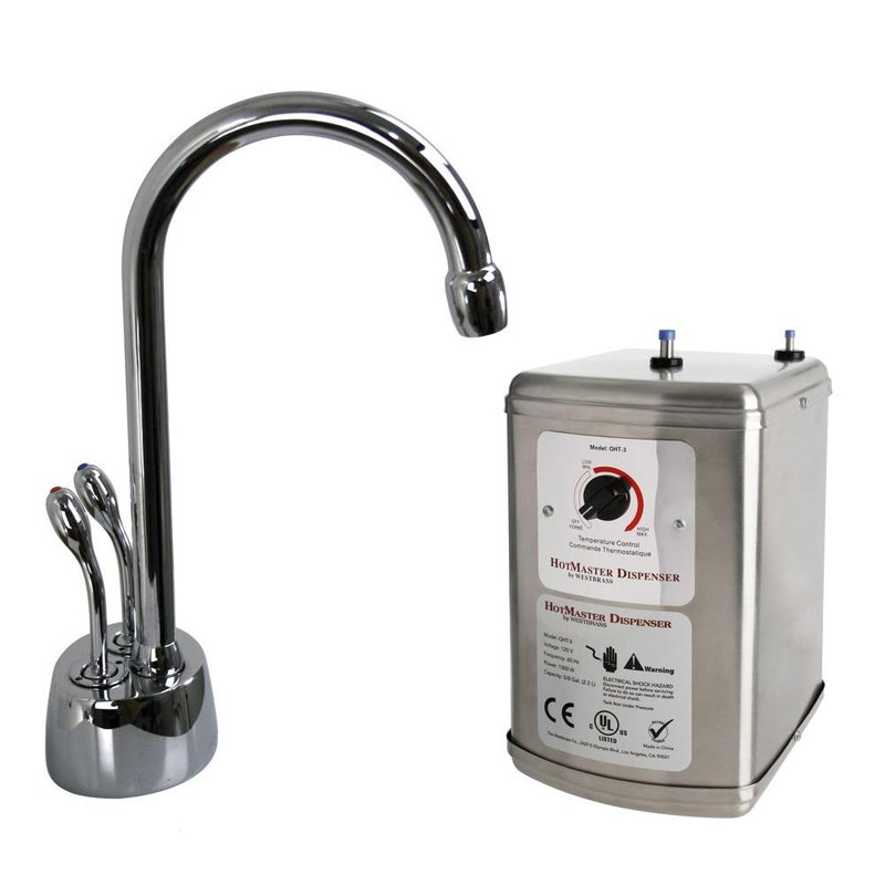 Westbrass D272H-07 Develosah 2-Handle Hot Water Dispenser Faucet in Satin Nickel with Hot Water Tank