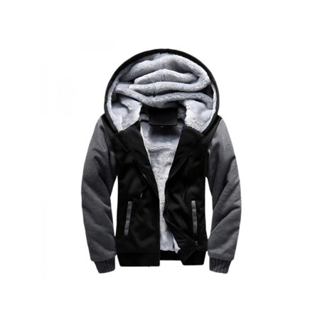 Mens Hooded Wool - VICOODA Plus Size Men's Pullover Winter Warm Jackets Hooded Fleece Sweatshirt Wool Thicken Zipper Coats Basic Hoodie Sweatshirt