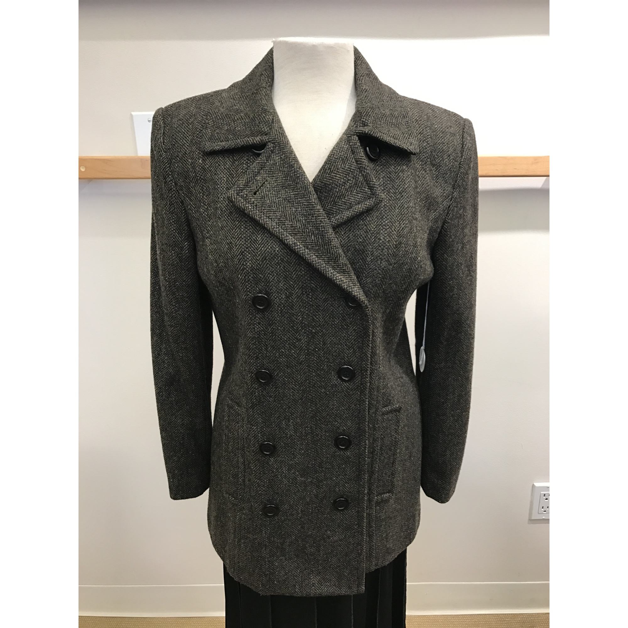 Black Taupe Tweed Herringbone Double Breasted Outerwear Jacket (Style# 9222F7)