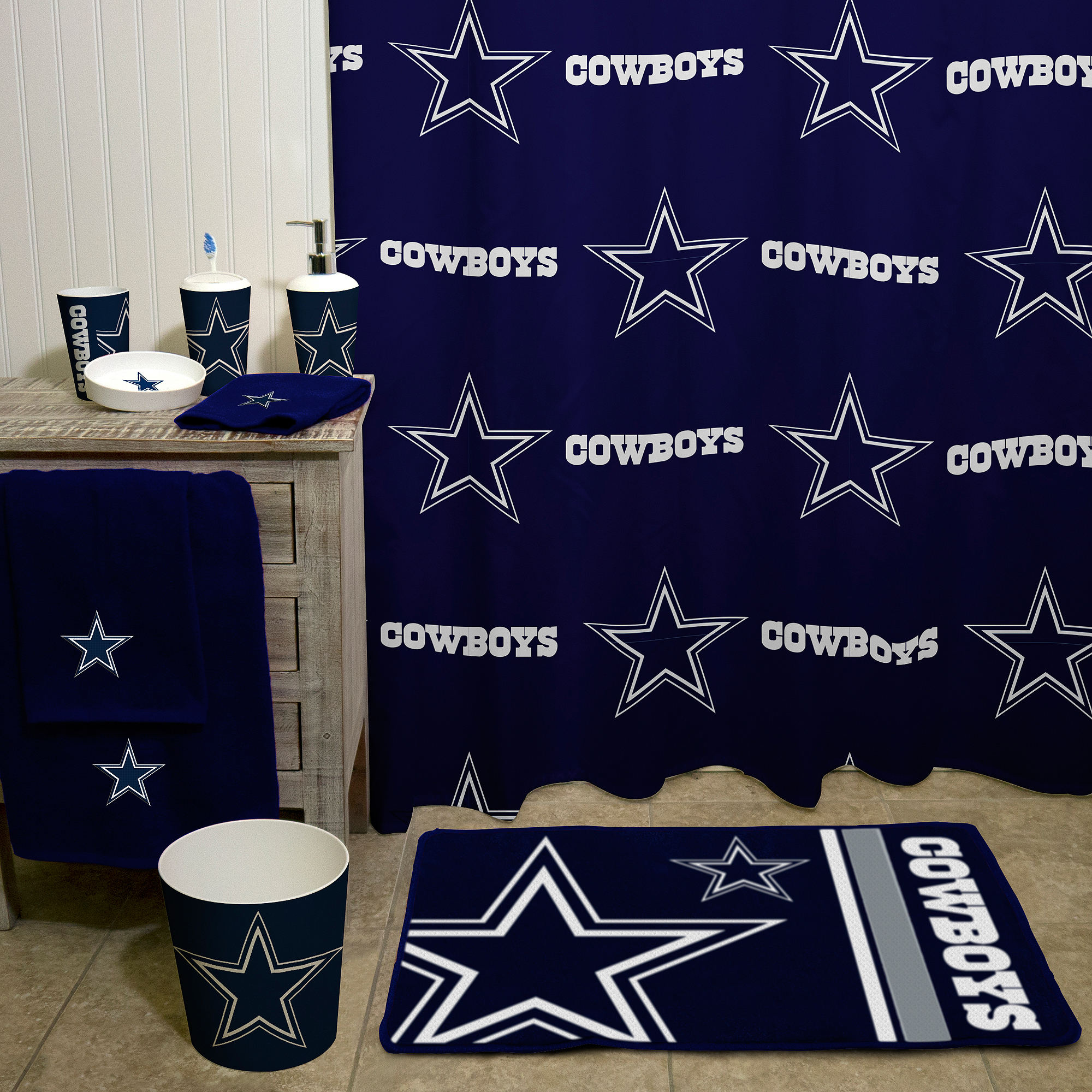 "nfl dallas cowboys 20"" x 30"" round edge bath rug - walmart"