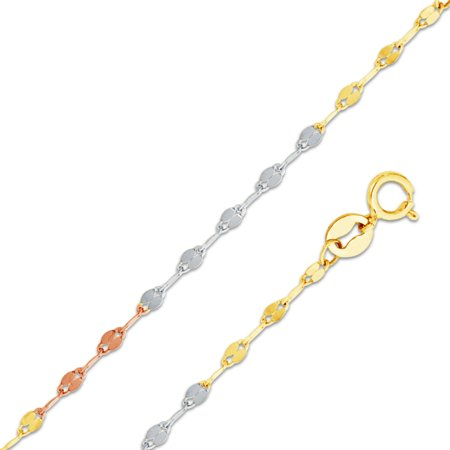 14k Tri 3 Color Gold Solid 1.7mm Twisted Mirror Chain Necklace (Chain Tri Color Necklace)