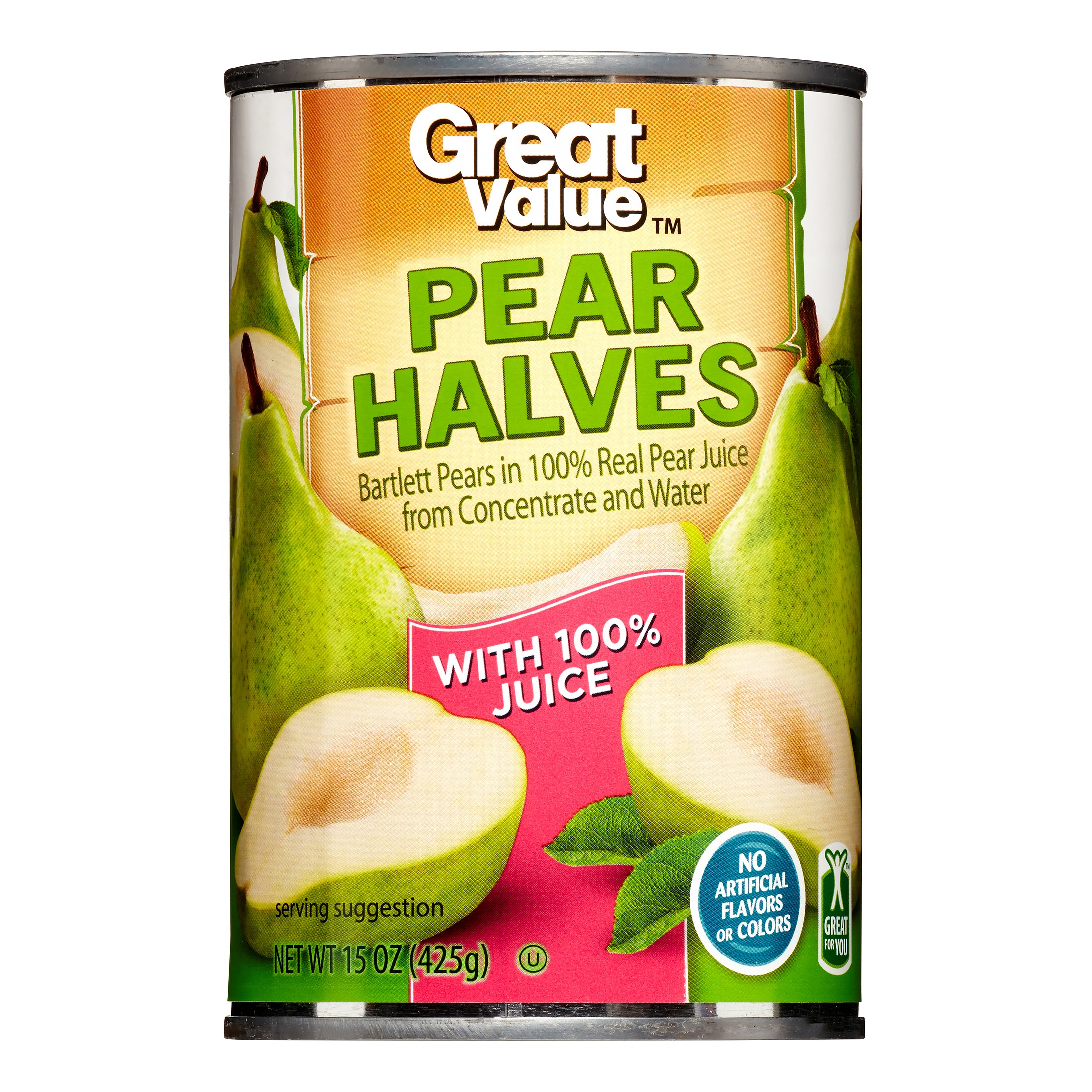 Great Value Pear in 100% Juice, 15 Fl Oz