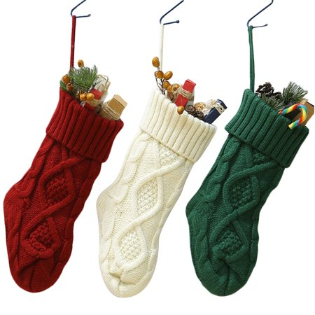 3PCS 14.57'' Christmas Stocking Knitting Hanging Stocking Christmas Gift Bag Candy Bag Christmas Party Supplies Decorations Ornaments, Red, Green, White ()