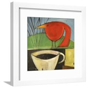 Coffee and Red Bird Framed Print Wall Art By Tim Nyberg