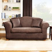 Sure Fit Stretch Leather 2 Piece Sofa Slipcover Brown Image 1 Of 3