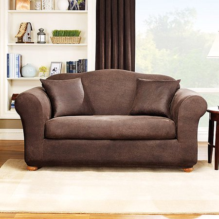 Sure fit stretch leather 2 piece sofa slipcover brown for Sure fit stretch sofa cover