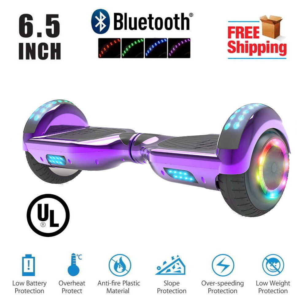"Hoverboard 6.5""  LED Bluetooth Speaker  Self Balancing Wheel Electric Scooter-Chrome Purple"