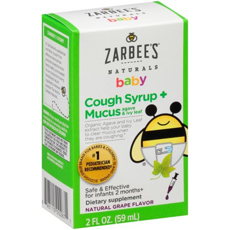 Zarbee's Naturals Baby Cough Syrup + Mucus with Agave & Ivy Leaf , Natural Grape Flavor, 2 Fl. Ounces (1