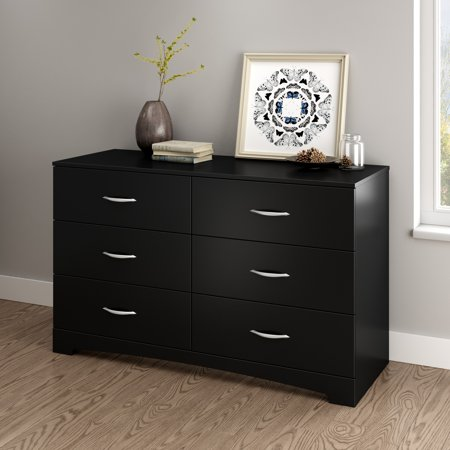 Black Six Drawer Dresser (South Shore SoHo 6-Drawer Double Dresser, Multiple)