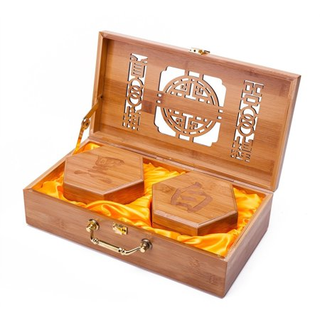 - Collectible Wei Qi Go Game Set Melamine Single Convex Stones and Bamboo Bowls Elegant Hollow Out Bamboo Storage Case