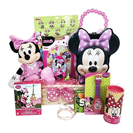 Easter Gift Basket for Kids Minnie Mouse Themed 10 Items In 1 Basket With Novelties, Jewelry, Watch, Hair Accessories, Fun and Games