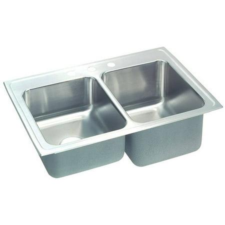 Lustertone 3 Hole - Elkay STLR3322R3 Gourmet Lustertone Stainless Steel Double Bowl Top Mount Sink with 3 Faucet Holes