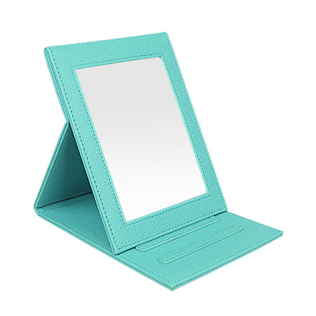 Fintie Travel Folding Makeup Mirror - Portable Slim PU Leather Folding Cosmetic Mirror with Standing, Robin Egg Blue - Standing Egg