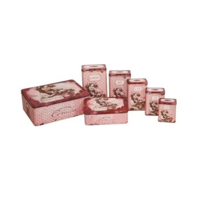 """French Set of 7 Tin Boxes """"Confiture De Cerises"""""""