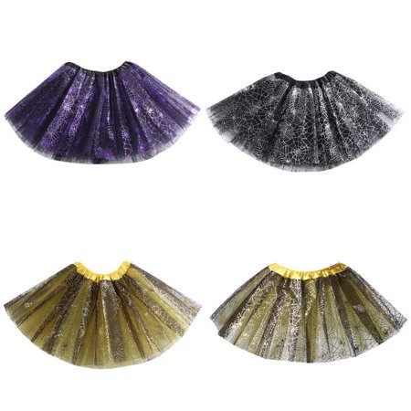 Fashion Kids Baby Girls Spider Web Fancy Tutu Dancing Skirt Party Costume 2-8Y (Girl Dancing With Broom)
