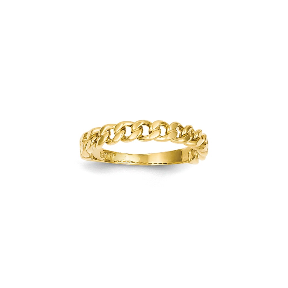 14k Yellow Gold Chain Link Band Ring