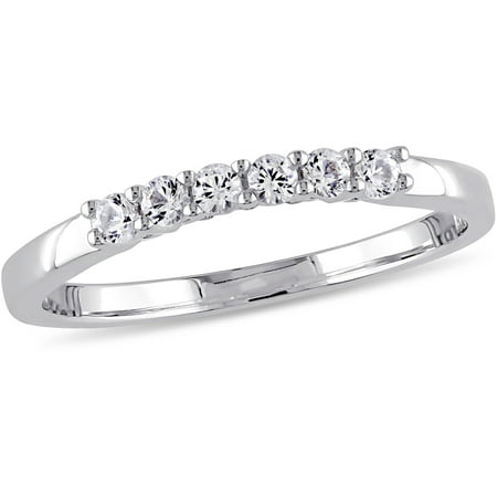 1/4 Carat T.G.W. Created White Sapphire 10kt White Gold Wedding Band ()