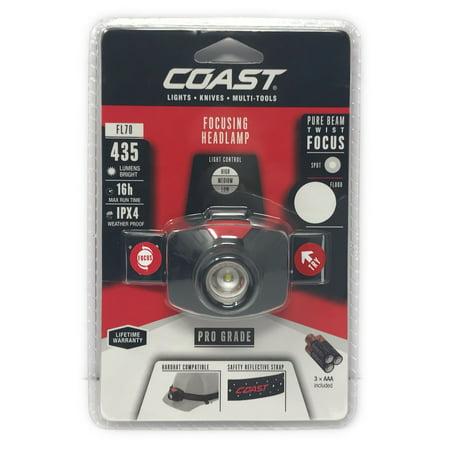Rechargeable Focusing Headlamp (Coast FL70 Pure Beam Twist Focus LED HeadLamp 435 Lumens Weather Proof +)