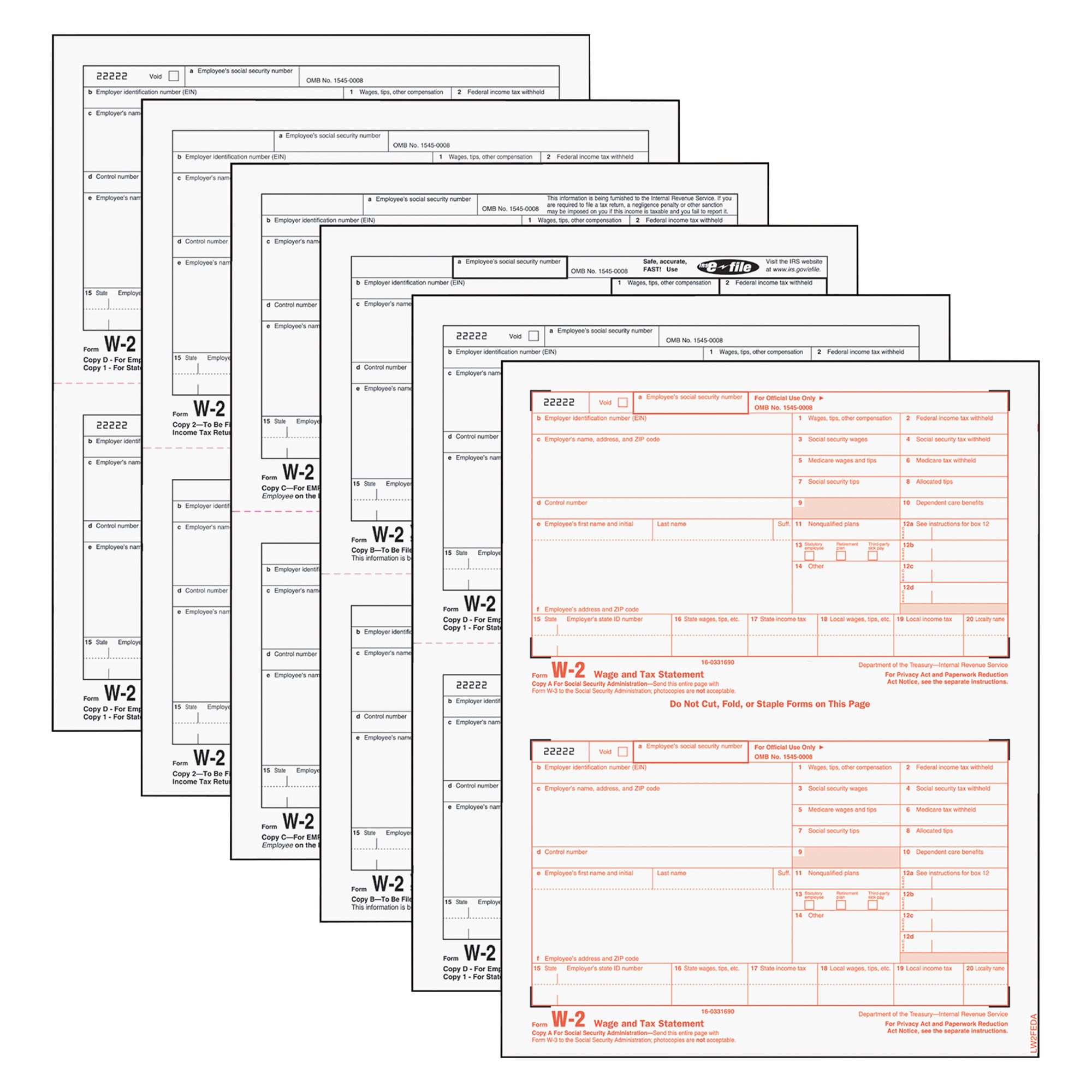 Tops W-2 Tax Form 6-Part Carbonless 50ct, White