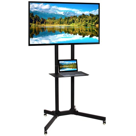 Lockable Media Cart - Best Choice Products Home Entertainment Flat Panel Steel Mobile TV Media Stand Cart for 32-65in Screens w/ Tilt Mechanism, Lockable Wheels, Front Shelf - Black