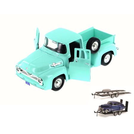 Diecast Car & Trailer Package - 1955 Ford F-100 Pick Up truck, Green/Turquoise - Motor Max 79341WB - 1/24 Scale Diecast Model Toy Car w/Trailer -  ModelToyCars