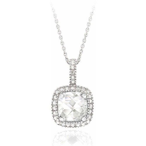 3.35 Carat T.G.W. White Topaz and Diamond Accent Sterling Silver Square Necklace