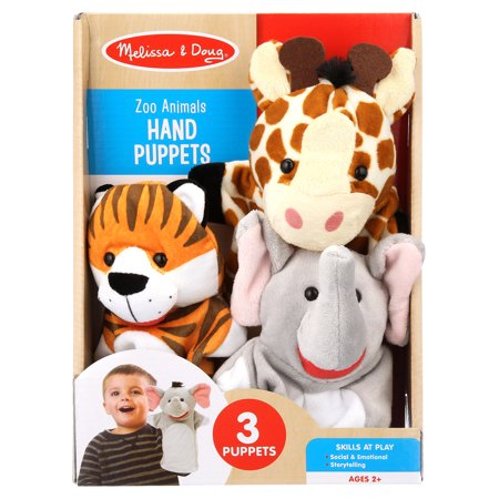 Melissa & Doug Zoo Animals Hand 3 Plush Puppets