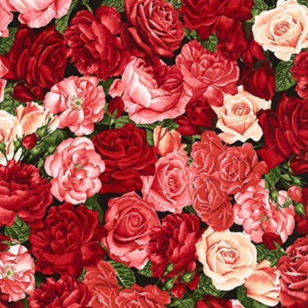 Rose Garden Packed Roses #7197 By the Yard, Packed Pink and Red Roses, Rose Garden, Timeless Treasures, By the Yard, 100% Cotton, Quilt Shop.., By Timeless Treasures ()