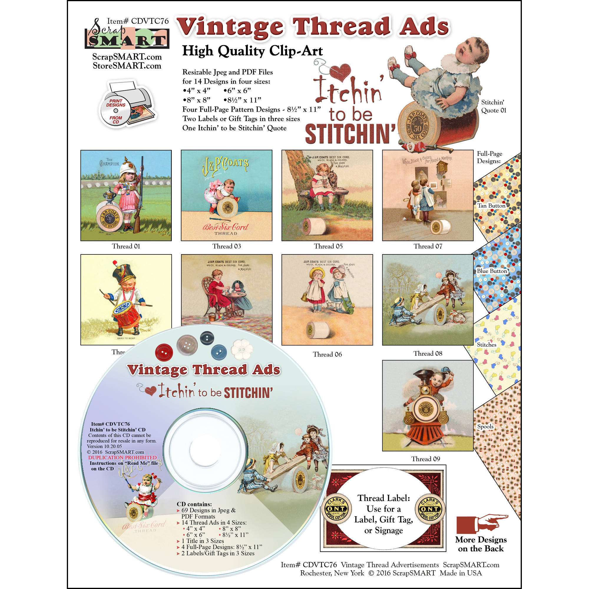 ScrapSMART Vintage Thread Ads CD-ROM, Itchin' to be Stitchin' Clip-Art Images for Scrapbook, Craft, Sewing