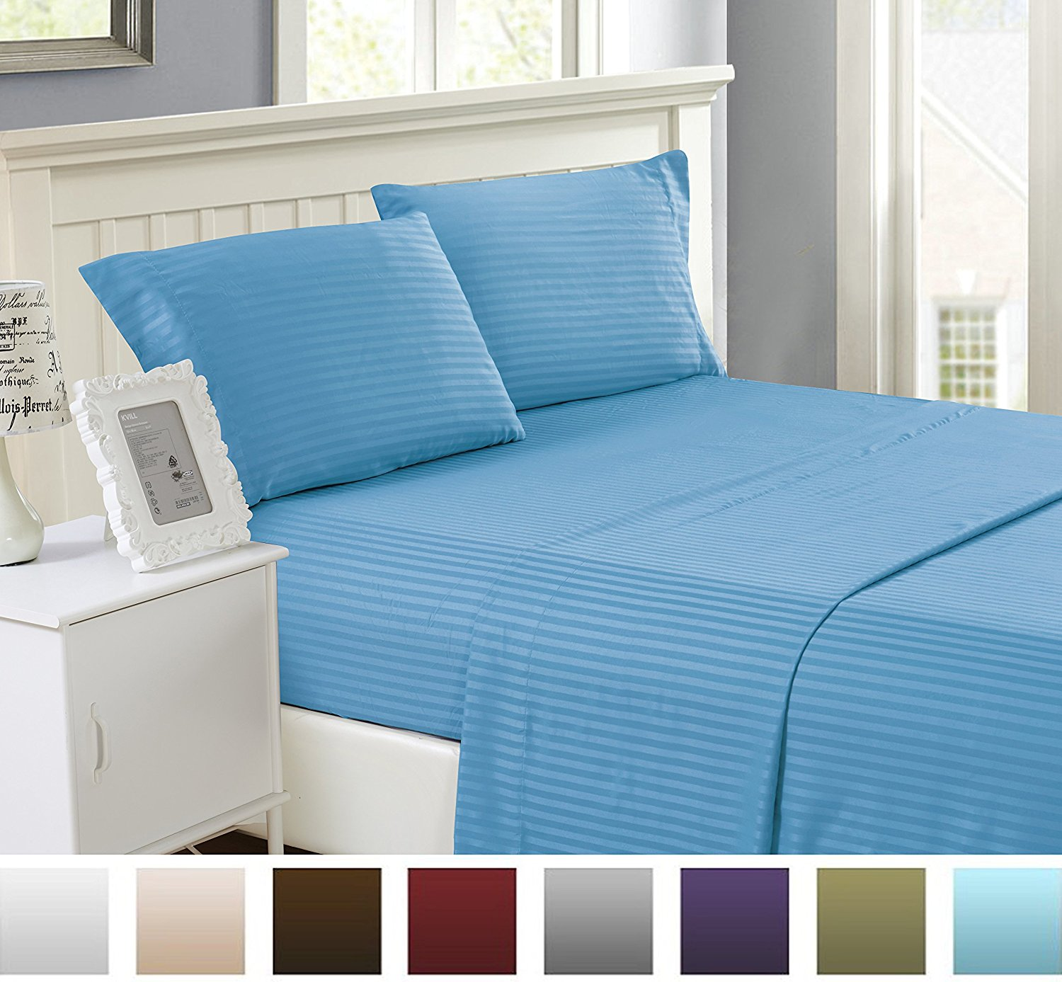 Lux Decor Bed Sheet Set - Brushed Microfiber 1800 Bedding - Wrinkle, Fade, Stain Resistant - Hypoallergenic - 4 Pieces