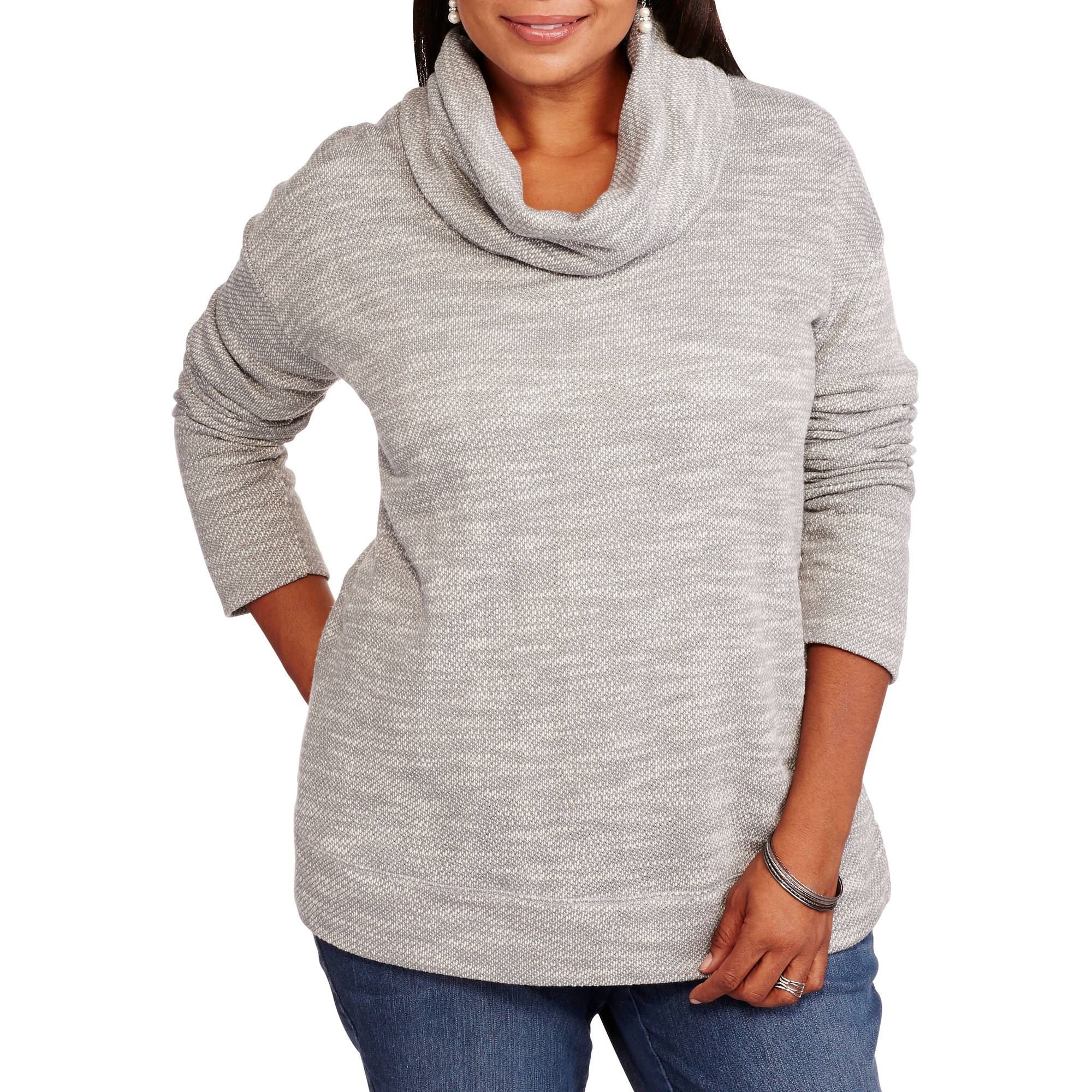 Concepts Women's Plus Cowl Neck French Terry Tunic