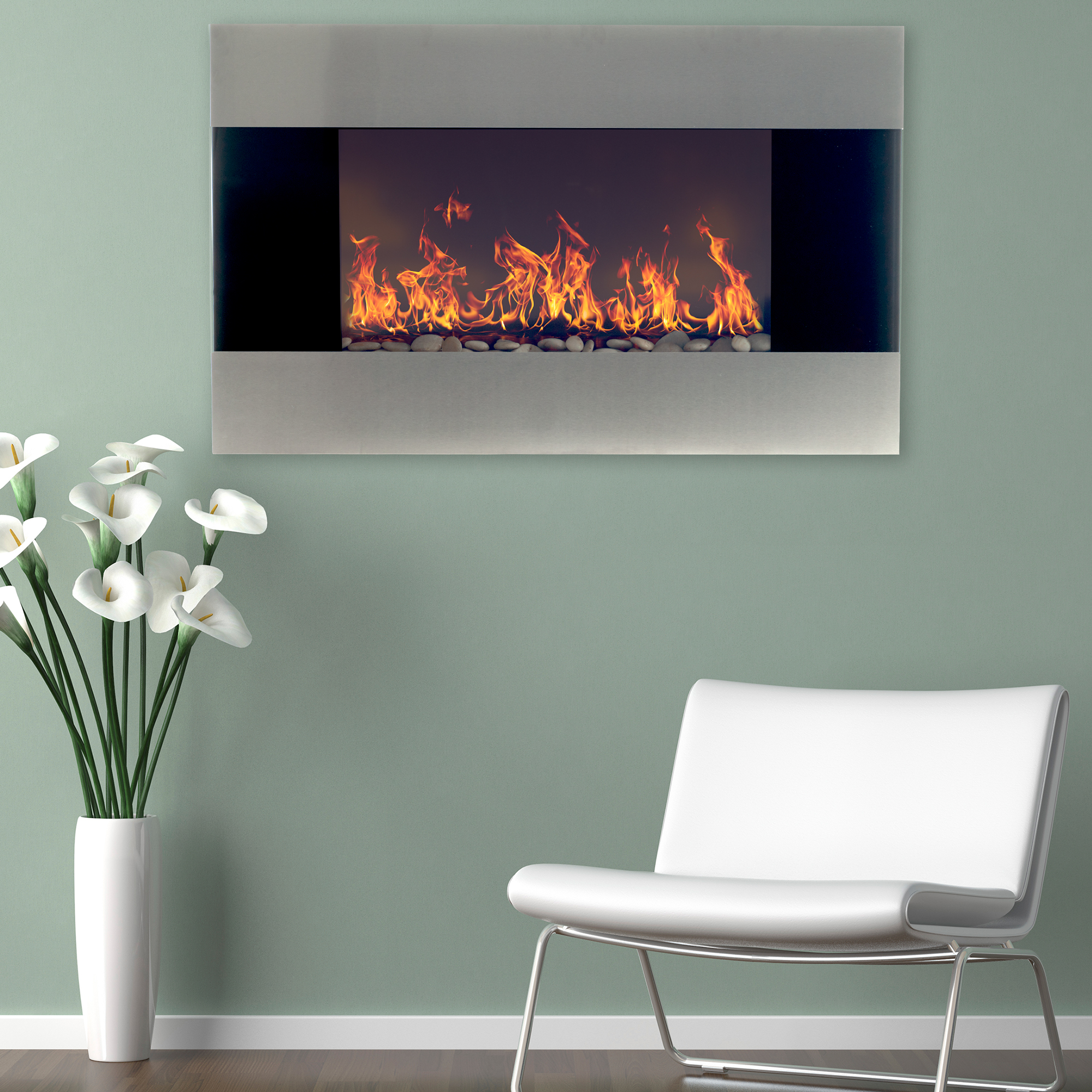 Northwest Stainless Steel 36 Inch Electric Wall Mounted Fireplace, Includes Remote