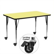 Flash Furniture Mobile 30''W x 48''L Rectangular Activity Table with Yellow Thermal Fused Laminate Top and Standard Height Adjustable Legs